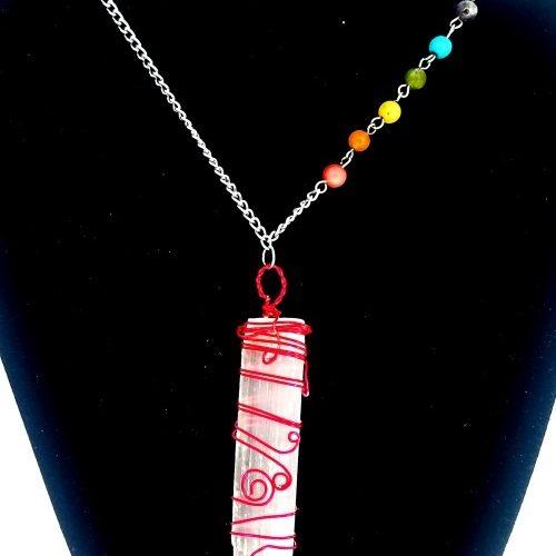 selenite pendulum chakra necklace